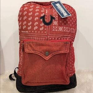 True Religion Men's Red Bandana print backpack